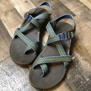 Chaco Blue Yellow Strappy Sandals